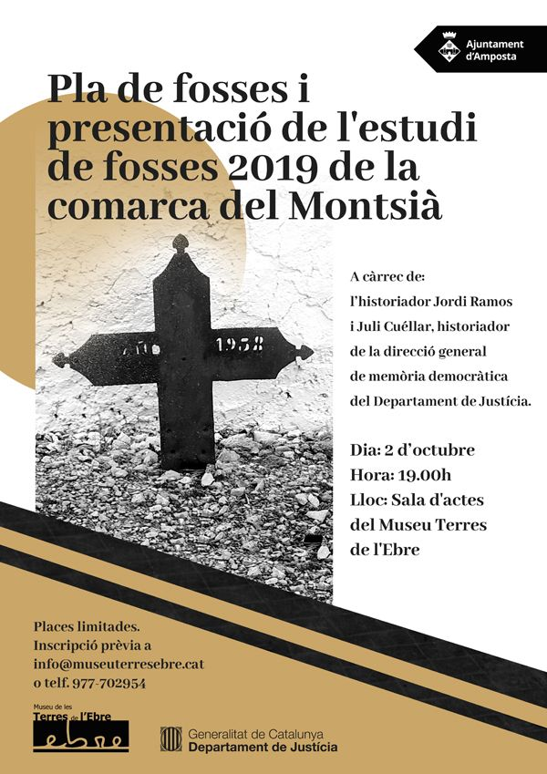 """Conferència """"Pla de foses i presentació de l'estudi de fosses 2019 de la comarca del Montsià"""""""