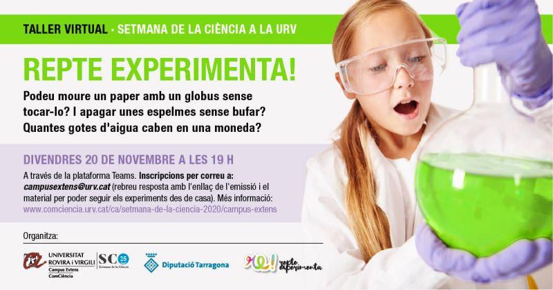 Museu de les Terres de l´Ebre : agenda : REPTE EXPERIMENTA!  Taller virtual de la Setmana de la Ciència