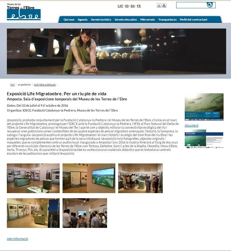 Museu de les Terres de l´Ebre :  : Tancament i publicació al web de 169 activitats realitzades el 2015 i 2016