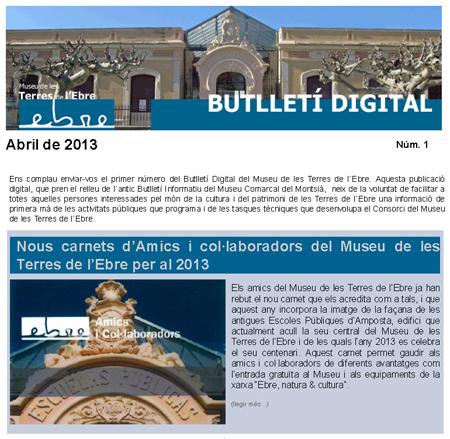 Museu de les Terres de l´Ebre : Butlletí digital