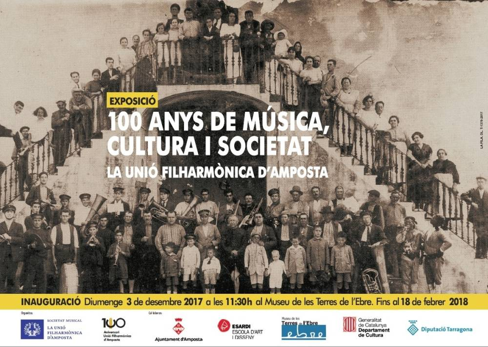 """Museu de les Terres de l´Ebre : agenda : Exposició """"100 anys de música, cultura i societat. La Unió Filharmònica d'Amposta """""""