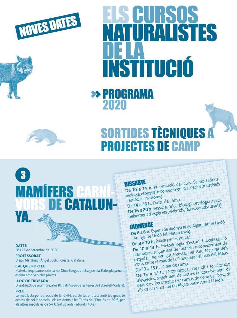 """Curs """"Mamífers carnívors de Catalunya"""" dins del cursos naturalistes de la ICHN"""